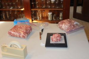 Some of the ground pork, ready for seasoning.